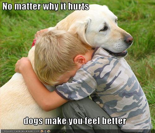 best friend child cuddles feel better Hall of Fame human hurt kids labrador - 2171115264