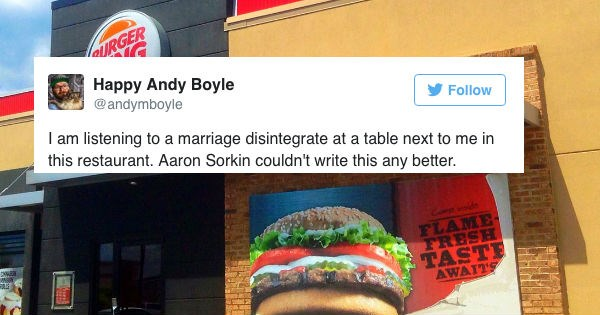 Guy live tweets super dramatic breakup at Burger King.