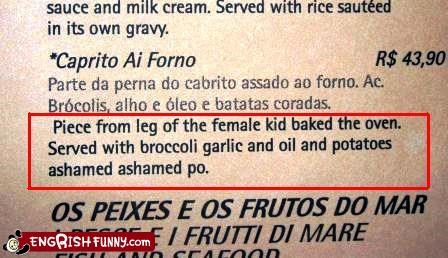 ashamed,cannibal,female,menu,oven,restaurant