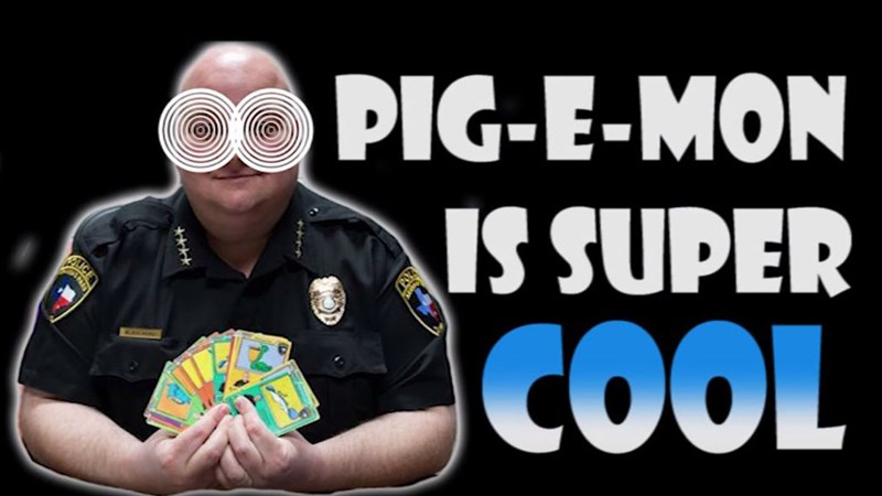 Funny article and videos about the Aransas Pass Police Department's new game, Pig-E-Mon, a Pokemon style card game.