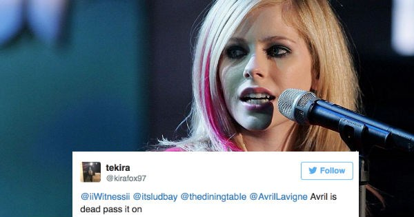People are trolling Avril Lavigne on Twitter about how she's dead, while she's not.