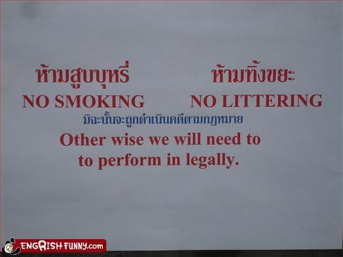 g rated legally no littering no smoking perform signs - 2184972032