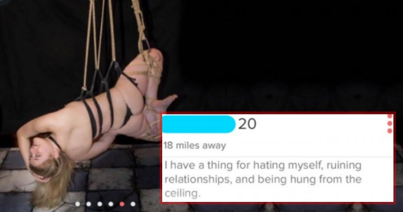 tinder profiles of crazy people that are at least honest - cover image of girl who likes to be hang from ceiling sometimes.