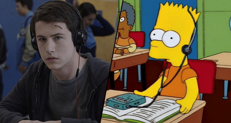 Tweets that show all the moments The Simpsons television show predicted the future of TV shows with crazy accuracy - Cover image of Bart Simpson and 13 Reasons Why