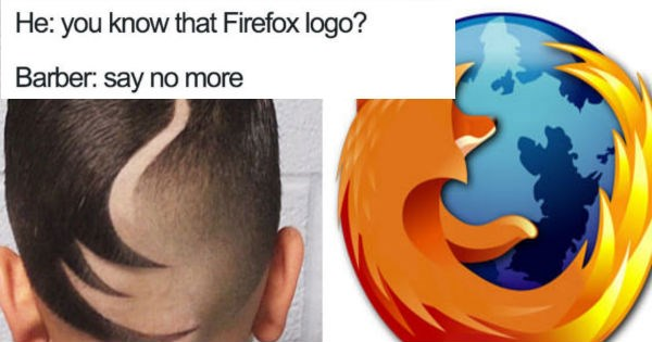 Twenty 'say no more' haircuts that are full of razor sharp cringe. - Cover image of Say No More haircut like Firefox logo.