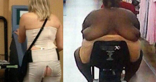 Awkward people that were caught looking ridiculous while shopping at Walmart - cover graphic of woman with back-boobs and another with a torn pants in the seam.