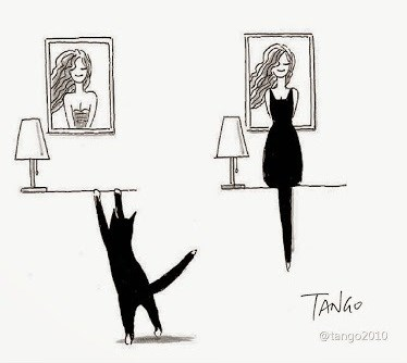 Art illustrations of funny uses for cat silhouettes - cover image of cat that climbs to look at picture of woman and looks like she is her dress.