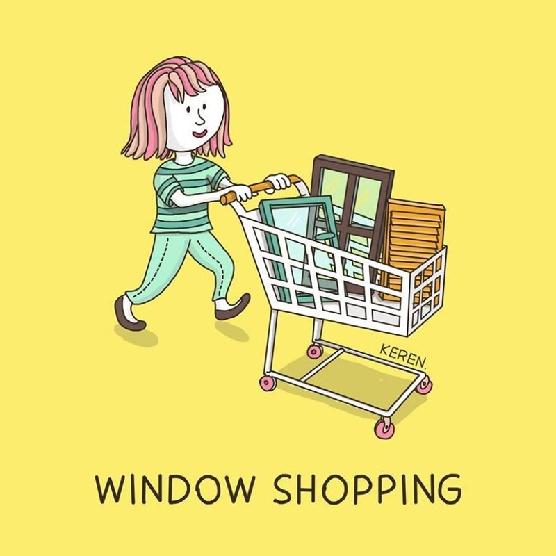 Funny illustrations that describe things literally - Cover image woman pushing cart with many windows in it and captioned 'Window Shopping'