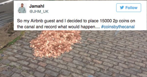 Artist leaves 15,000 pennies along canal and proceeds to live-tweet what happens.