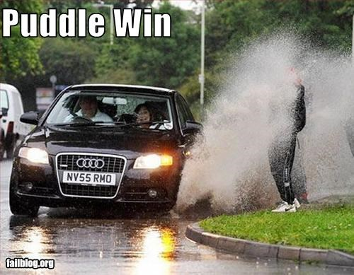 cars driving g rated puddle splash water - 2198364416