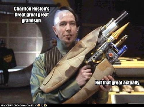 Charlton Heston's Great great great grandson. Not that great actually.