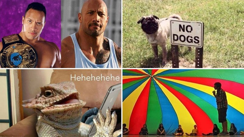 Collection of funny memes about donald trump, male rompers, the romphim, kanye west, abraham lincoln, dogs, school, dating, cars, fidget spinners, college, phones, eating.