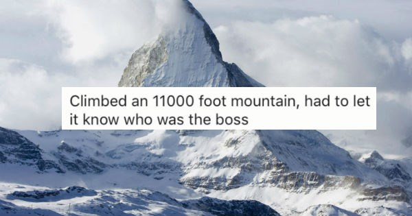 Collection of stories from people sharing their most proud fap moments - cover graphic of large mountain and story about letting it know who is boss.