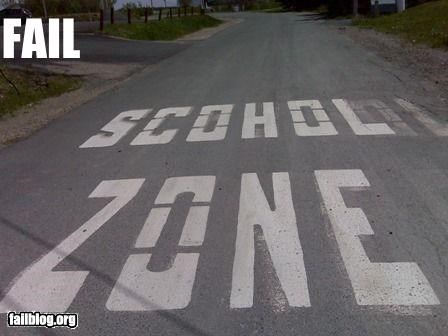 g rated,misspelling,road paint,school