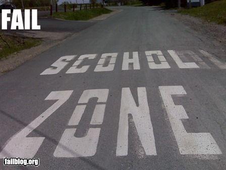 g rated misspelling road paint school - 2222584064