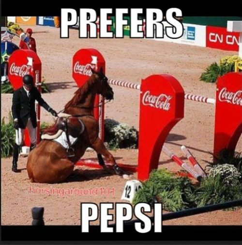 Funny horse meme who is not jumping over the Coca Cola ad, clearly he prefers Pepsi - cover meme for article of horse memes.