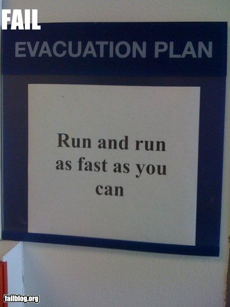 emergency evacuation fast g rated plan run signs - 2227190016