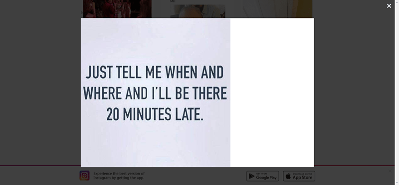 Hilarious posts and memes by @girlswithnojob - cover graphic of a witty post stating, 'Just tell me when and where and I'll be there 20 minutes late'