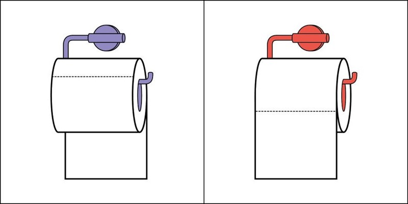 Funny cartoon sketches of 2 kinds of people in this world - cover image of toilet paper over and under conundrum.