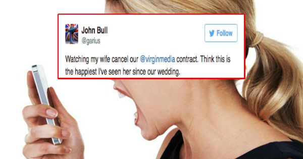 Guy live-tweets his wife's four hour phone call with Virgin Media as they attempt to cancel cell phone contract.
