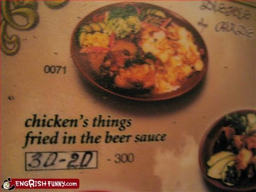 beer,chicken,food,fried,g rated,menu,sauce,thing