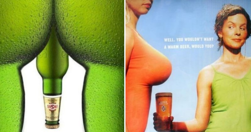 strange beer advertisements with beer bottles resembling a naked man and a woman shading her beer under large breasts - a cover photo for a list