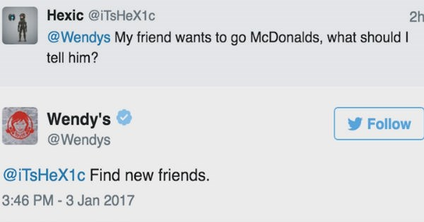 14 of our favorite times Wendy's replied with hilarious banter to people on social media - cover image of a burn on McDonald's and finding new friends if that is what they want.