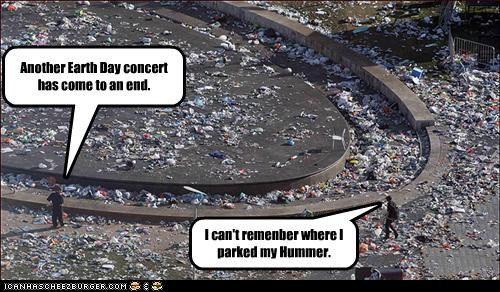concert Earth Day garbage hummer refuse