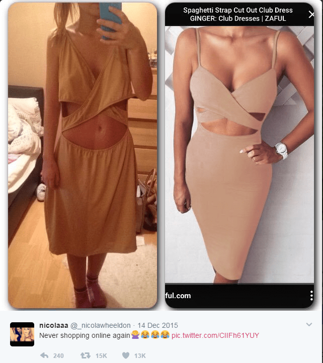 17 times people regret shopping online - cover image of very droopy dress compared with perky one on the website.