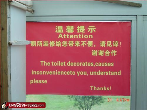 trip to china the toilet decorates, causes inconvenenceto you understand please!