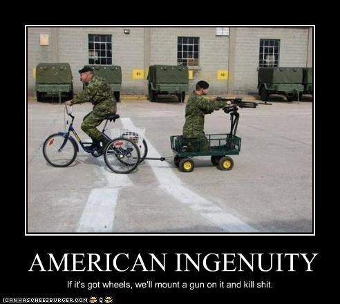 americans,bicycle,guns,military