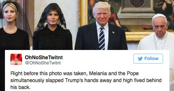 People react to funny cringe picture of Donald Trump with Melania and Ivanka and the Pope on Twitter with hilarious captions.