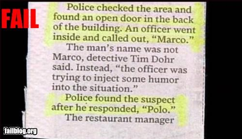 classic failboat games hiding Marco Polo newspaper police really - 2253726464