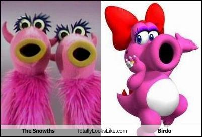birdo,muppets,super mario brothers,the snowths,TV,video games