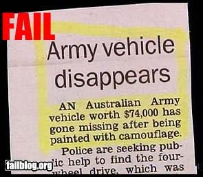 army,camouflage,classic,failboat,g rated,missing,newspaper,tank,well hidden