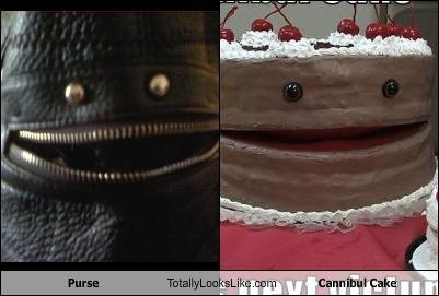 cake,cannibal,food,handbag,mouth,purse