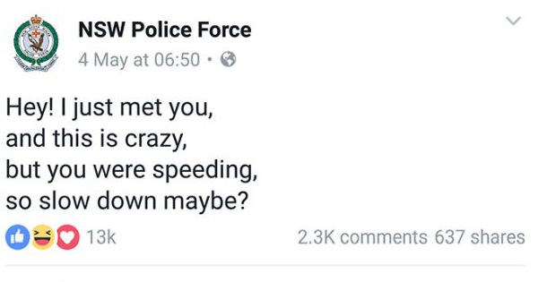 Ten very funny tweets from an Australian police Facebook page.