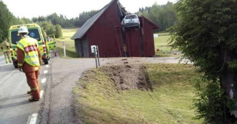 guy gets his car stuck in the top of a barn - cover image for a list of people who shouldn't be driving