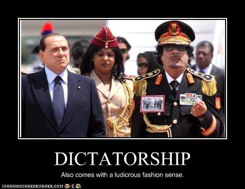dictator,fashion,Italy,libya,muammar al-gaddafi,prime minister,silvio berlusconi
