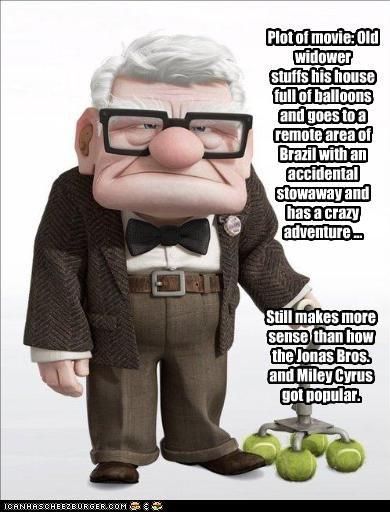 animation carl fredricksen disney jonas brothers miley cyrus pixar plots up - 2273867520
