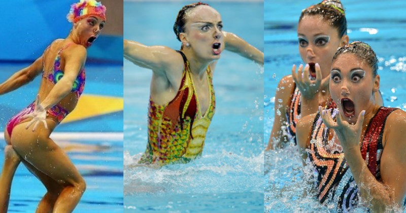 hilarious photos of synchronized swimmers that are odd
