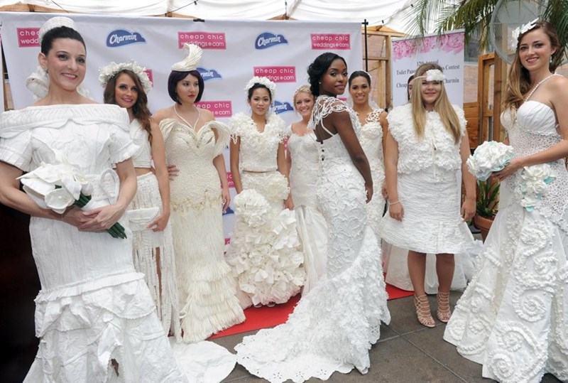 wedding dresses made of toilet paper