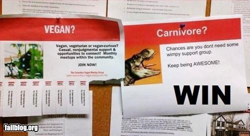 bulletin board,carnivore,vegan,win