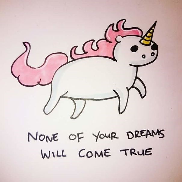 19 offensive greeting cards with animals - Unicorn card about how None of Your Dreams Will Come True.