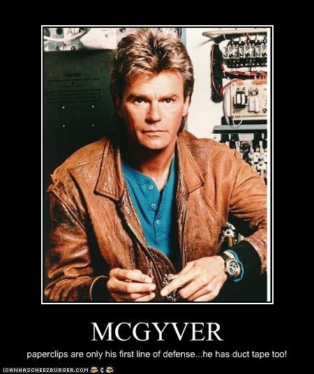 MCGYVER paperclips are only his first line of defense...he has duct tape too!
