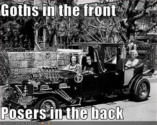 Munster's Family goth meme of goths in the back and posers in the back