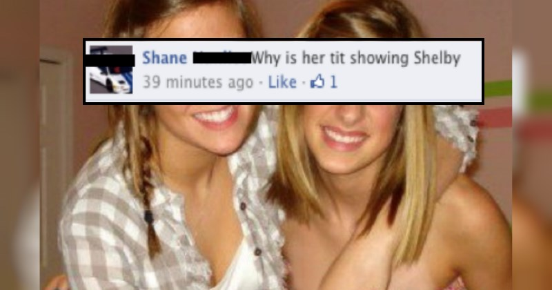 guy asks two girls why one of them has their tit out in a facebook photo - cover image to a list of facebook fails