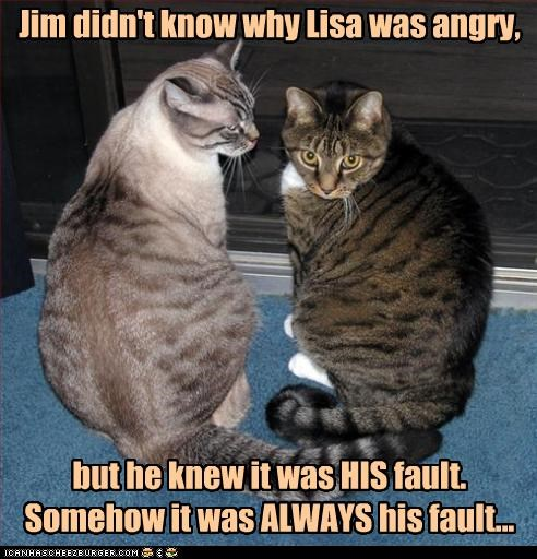 Jim didn't know why Lisa was angry, but he knew it was HIS fault. Somehow it was ALWAYS his fault...