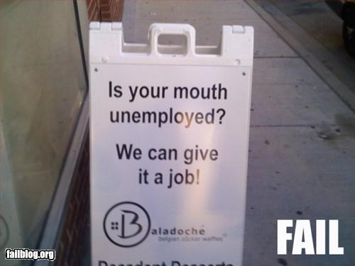 advertisement innuendo job mouth sidewalk suggestive unemployed - 2324520704
