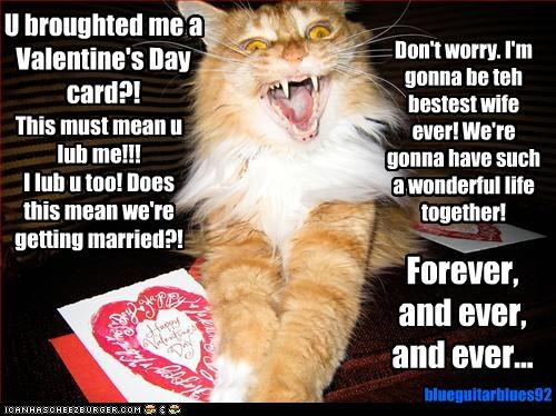U broughted me a Valentine's Day card?! This must mean u lub me!!! I lub u too! Does this mean we're getting married?! Don't worry. I'm gonna be teh bestest wife ever! We're gonna have such a wonderful life together! Forever, and ever, and ever... blueguitarblues92